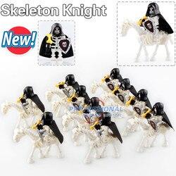 10 sztuk AX9815 średniowieczny zamek szkielet rycerze Gladiatus szkielet konie klocki klocki zabawki Ax9815