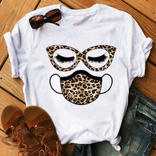 New Fashion Women T Shirt Leopard Face Mask Eyelash Print Tee Shirt Female Short Sleeve Tops Tee Harajuku T-shirts 90s Girls Tee
