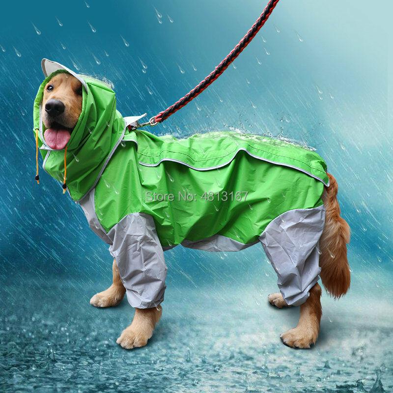 Dog Raincoat Waterproof Jumpsuit  For Small Medium Large Dogs Pet Rain Coat Clothes Apparel Big Size Removable Hood