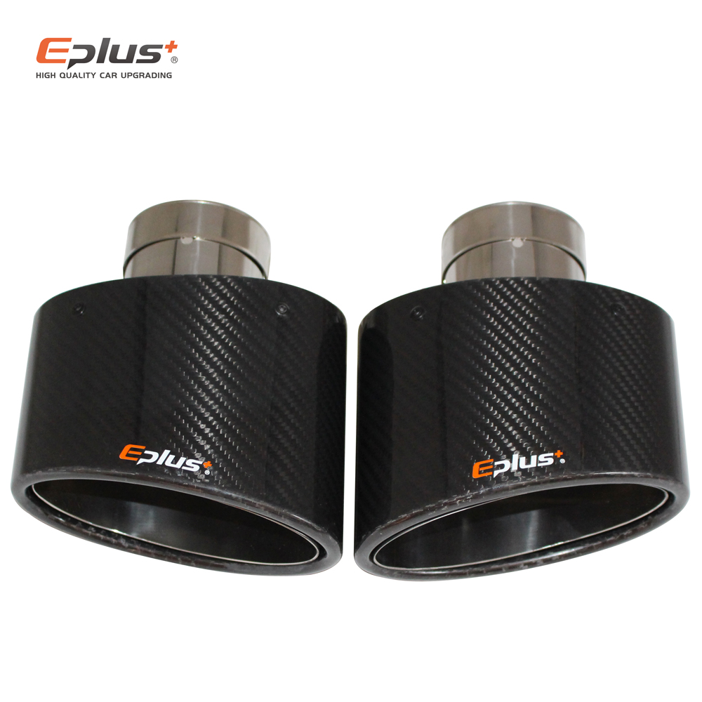 EPLUS Glossy Carbon Car Muffler Tip Exhaust pipe nozzle Universal stainless Silver Oval 150mm Tilting left right For Akrapovic image