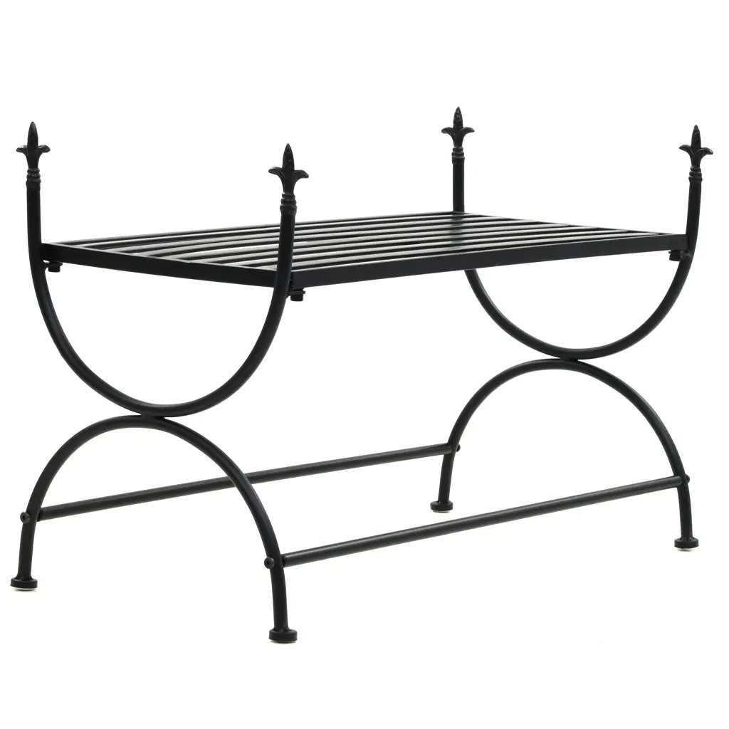 VidaXL Bench Vintage Style Metal 83x42x55 Cm Black U-Shaped Legs Easy To Assemble Bench With Exquisite Decorative Details