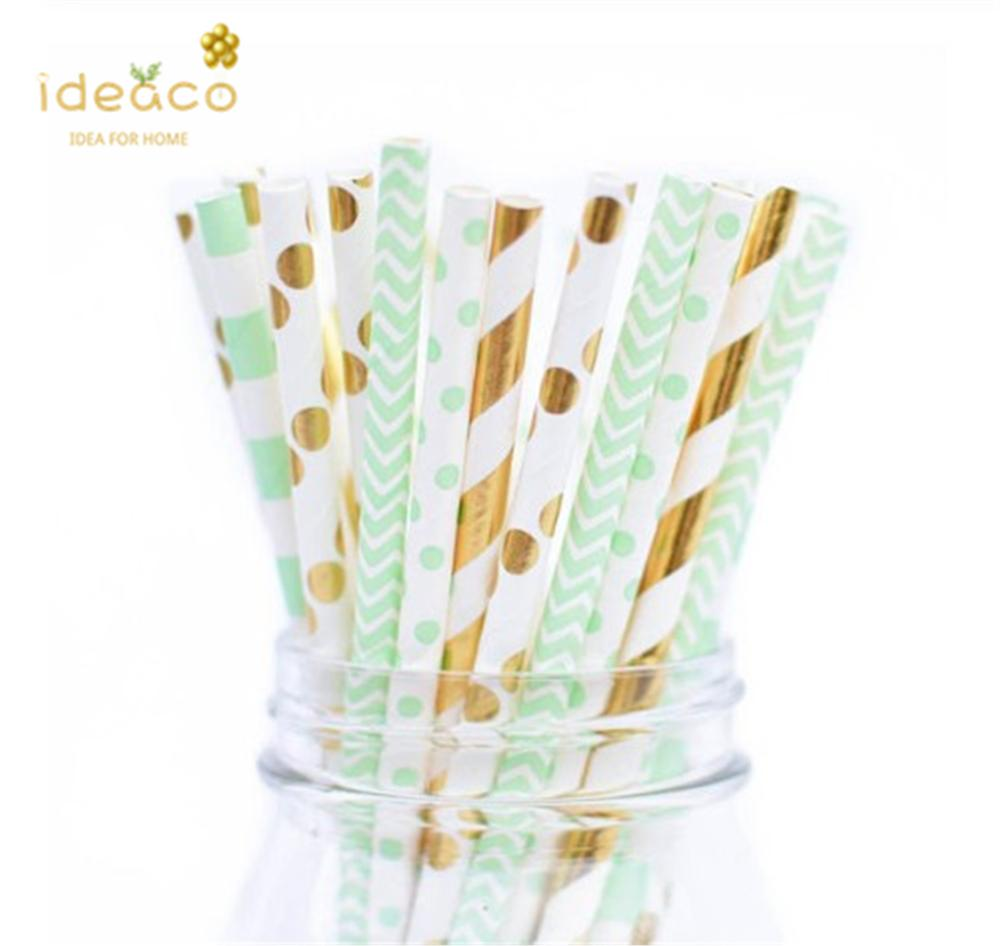 Shining Rose Gold Stripes Paper Drinking Straws For Wedding And Birthdays 100 Pack Rose Paper Straws For Party Table Decoration Festival Events