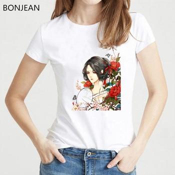 Chinese Ancient Woman Flowers Print Tshirt Vintage T Shirt Women Tumblr Clothes Female Geek T-Shirt Harjuku Aesthetic Shirt Tops