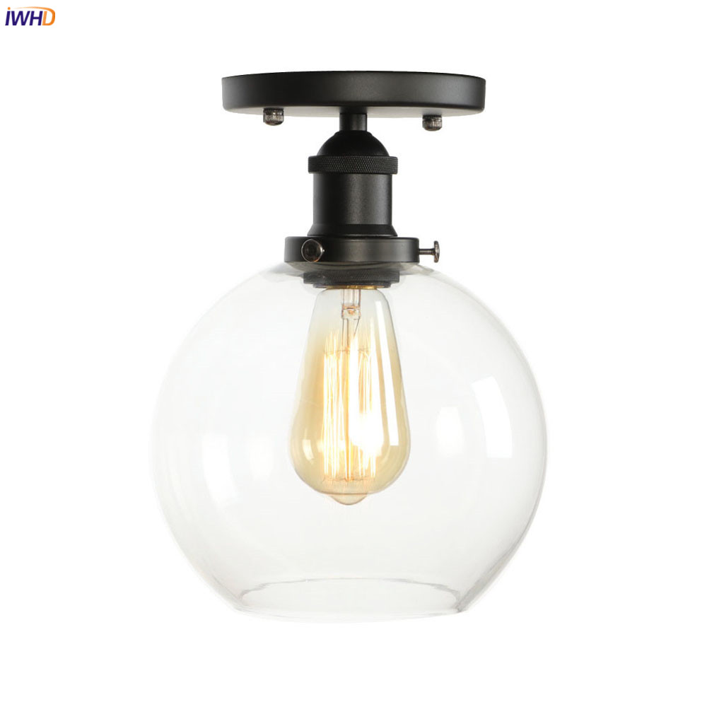 IWHD Industrial Decor Vintage Ceiling Lamp Kitchen Porch Living Room Plafonnier Glass Ball Ceiling Lights Luminaria De Techo LED