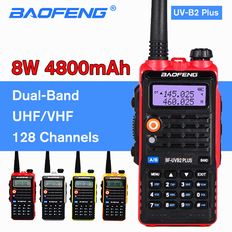 BAOFENG 8W UV-B2 PLUS Walkie Talkie 4800mAh VHF UHF Amateur Portable Ham CB Radio Scanner FM Transceiver High Power Intercom B2