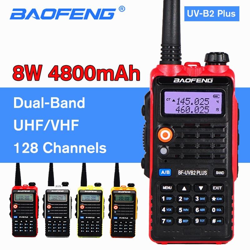 BAOFENG 8W UV-B2 PLUS Walkie Talkie 4800mAh VHF UHF Amateur Portable Ham CB Radio Scanner FM Transceiver High Power Intercom B2