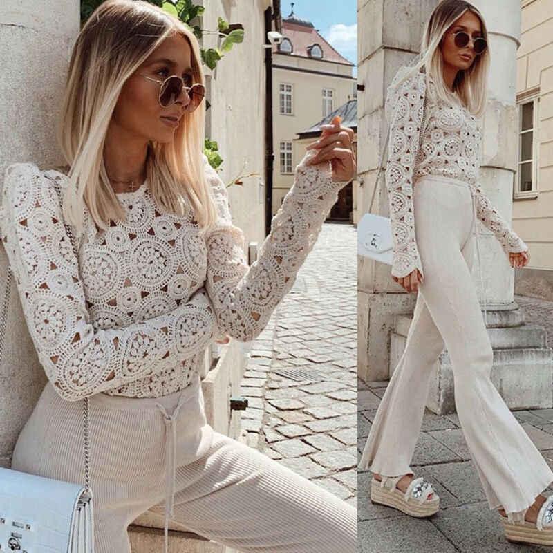 Beige Blouse Women Lace Crochet Hollow Out Long Sleeve shirt Top ...