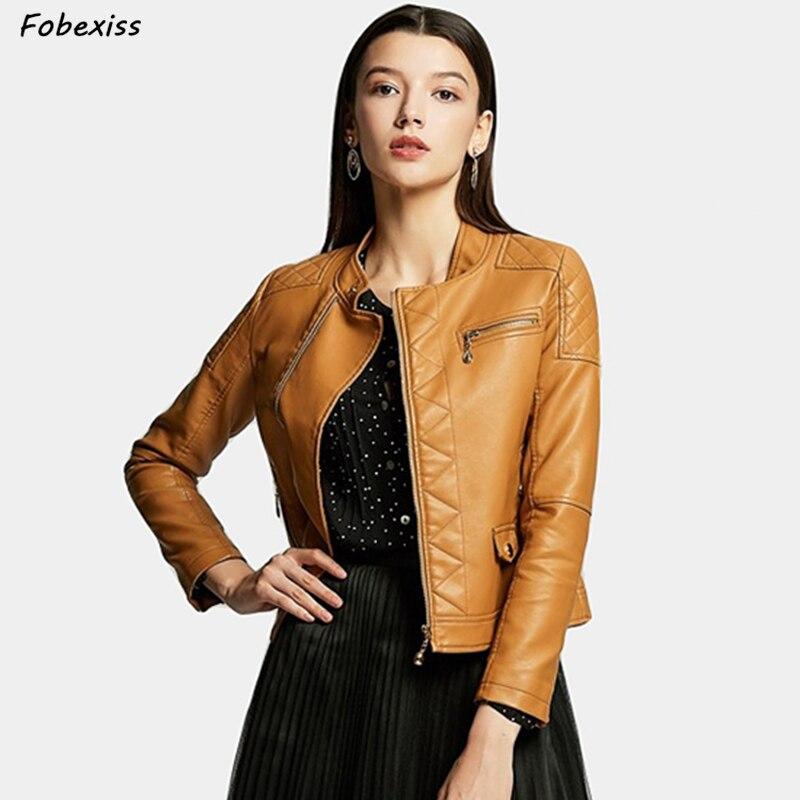 2019 New Elegant Autumn Winter Zipper Basic Faux   Leather   Jacket Coat Motorcycle Jacket Women Outwear Slim Short Winter Jacket