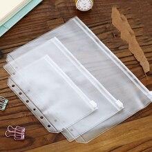 Прозрачный ПВХ держатель для карт для А5 А6 А7 кольца для переплета блокнот 6 отверстий сумка на молнии мешочек дневник аксессуары для планировщика