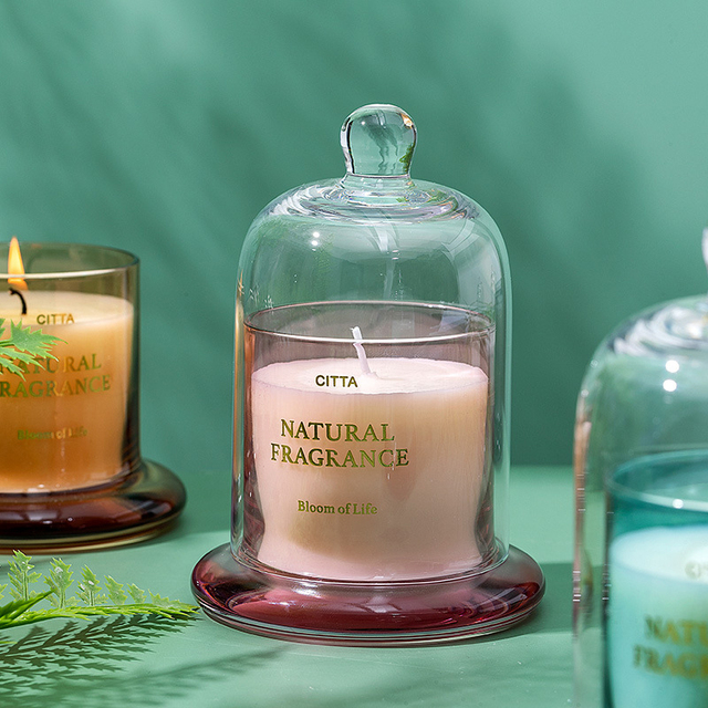 1PC High-End Aromatherapy  Smokeless Glass Scented Candle Bell Jar  6