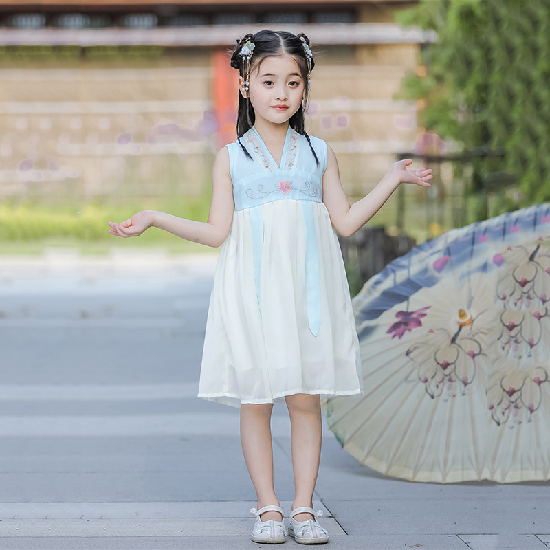 Classical Dance Costume Girls Reform Hanfu Oriental Fairy Dress Folk Festival Outfit Child Stage Rave Performance Clothes DF1267