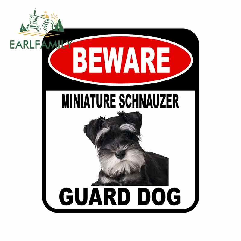 EARLFAMILY 13cm X 11cm BEWARE MINIATURE SCHNAUZER GUARD DOG Car Sticker Metal Aluminum Composite Sign Pet Dog Decal