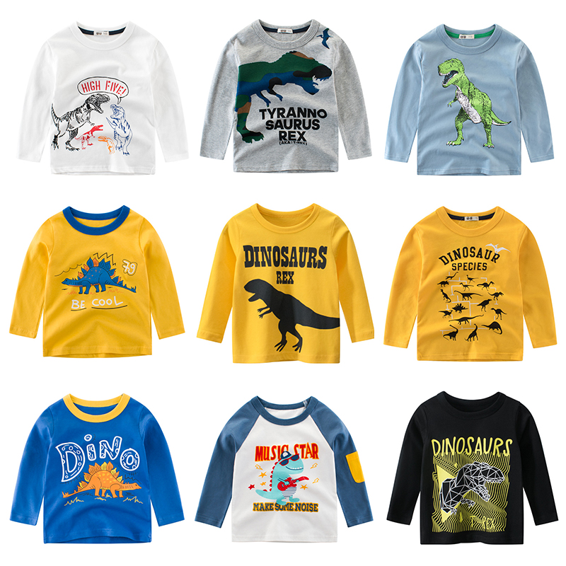 Children T Shirt Long Sleeves Kids Boys Girls Cotton Tops Baby Dinosaur Print Cartoon Clothing Tee 2-8 Years Clothes Full