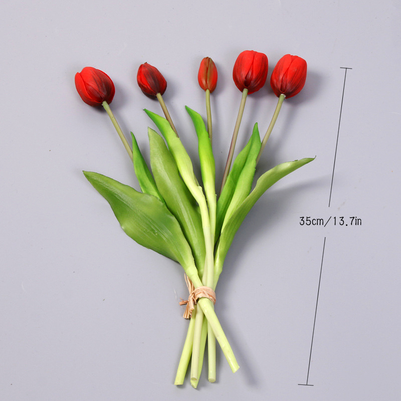 JAROWN 5 Heads Tulip Artificial Flower Real Touch Artificial Bouquet Fake Flower for Wedding Decoration Flowers Home Garden Decor (17)