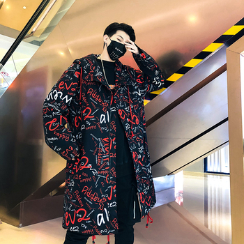UYUK2019 Long Casual Fashion Streetwear Trend Print Ed Youth Hip-hop Stage Style Men Hooded Trench Coat Masculino