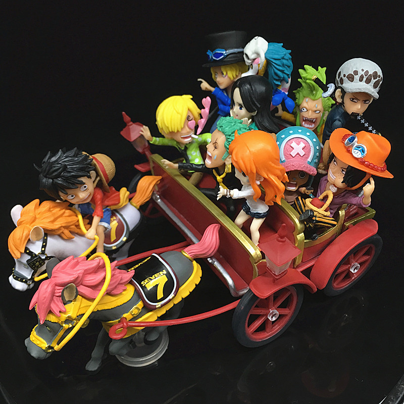 [Funny] Anime <font><b>One</b></font> <font><b>Piece</b></font> 20th Anniversary Carriage <font><b>Ichiban</b></font> <font><b>Kuji</b></font> WCF Luffy Zoro Sanji Nami PVC Action Figure Collection Model toy image