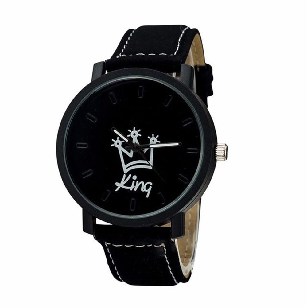 Hot Selling Queen King Letter Printed Crowm Pattern Fuax Leather Analog Quartz Wrist Watch Women Men Couple Watch Пара смотреть