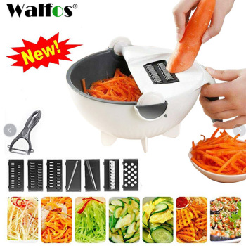 Magic Multifunctional Rotate Vegetable Cutter With Drain Basket 1