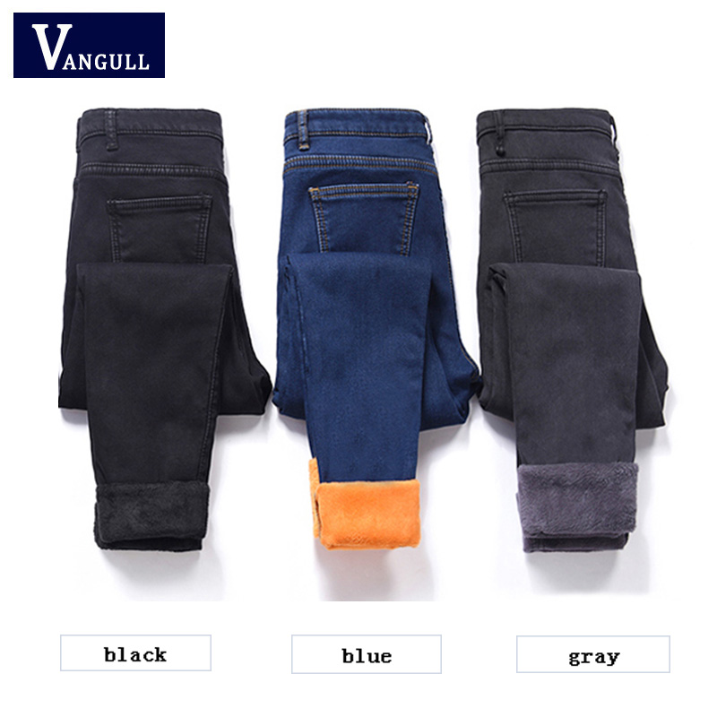 Vangull Fleece Lined Winter Jeans Women Trousers 2019 New Thick Warm Jeans Pencil Denim Pants Plus Velvet Slim Casual Ankle Jean