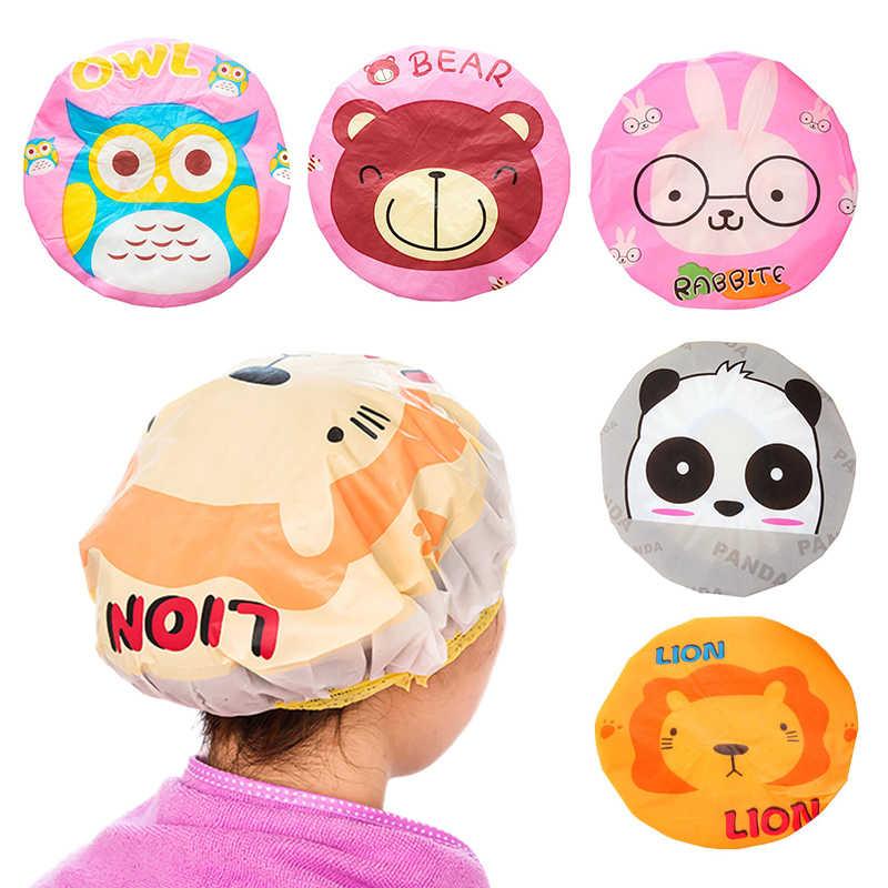 Capa de chuveiro bonito dos desenhos animados chapéu feminino banheiras saunas com laço elástico banda spa boné crianças capa protetora turbante cabeça de banho envoltório