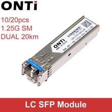 ONTi 10/20PCS 1000 mb/s jednomodowy podwójny 20KM moduł SFP 2 LC kompatybilny dla Cisco/Mikrotik przełącznik moduł światłowodowy