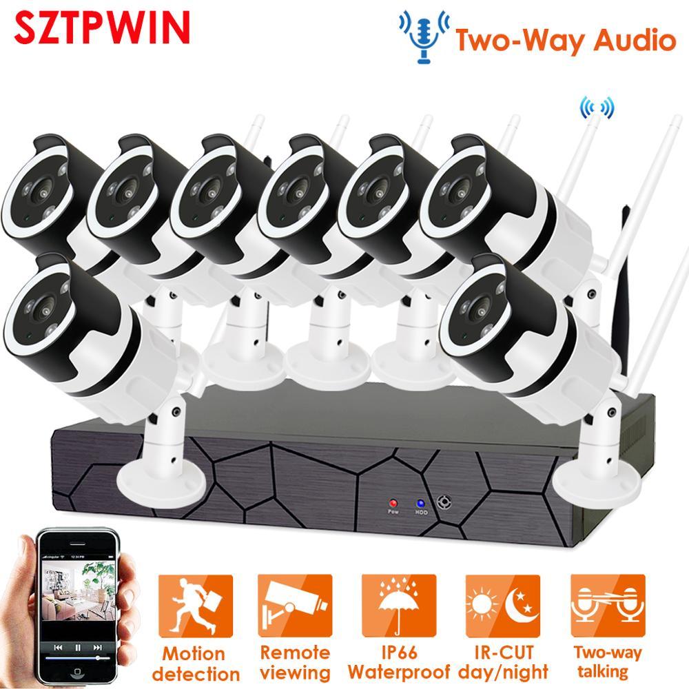 Two Way Audio1080P Wireless NVR CCTV System wifi 2 0MP indoor Outdoor Bullet IP Camera Waterproof