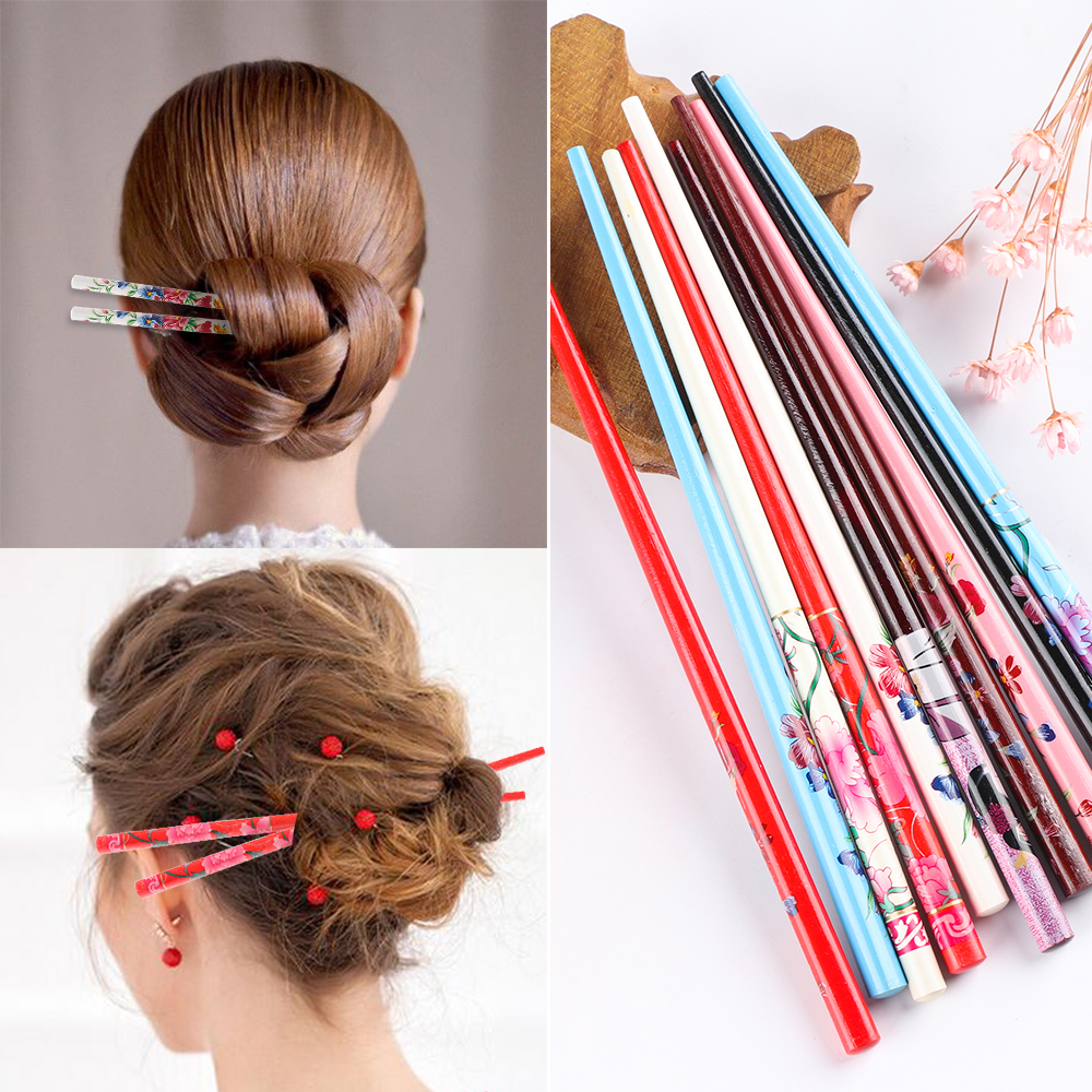 2Pcs Hand-carved Hair Stick Vintage Painting Hairpin Colorful Natural Wood Retro Style Hairpin Women Chopstick Hair Stick