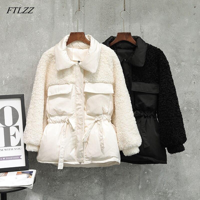 FTLZZ New Winter Jackets Women Patchwork Lambswool White Duck Down Coat Sash Tie Up Parka Slim Warm Down Outwear