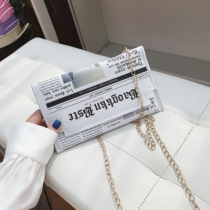 Envelope Bag Women 2020 Personality Inkjet Newspaper Clutch Bags PU Letter Magnetic Clasp Shoulder Messenger Bag Chain Party Bag