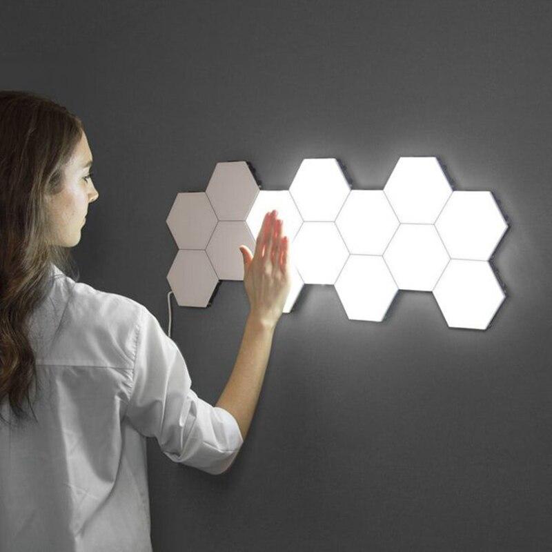 מודרני Quantum מנורת מגע רגיש תאורה LED לילה אור מגנטי משושים קישוט קיר lampara למסעדה שהתחתן