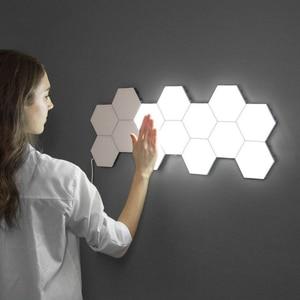 Image 1 - Lampe quantique moderne, éclairage sensible au toucher, lumière de la nuit, Hexagons magnétiques, décoration lampara murale pour le mariage de Restaurant