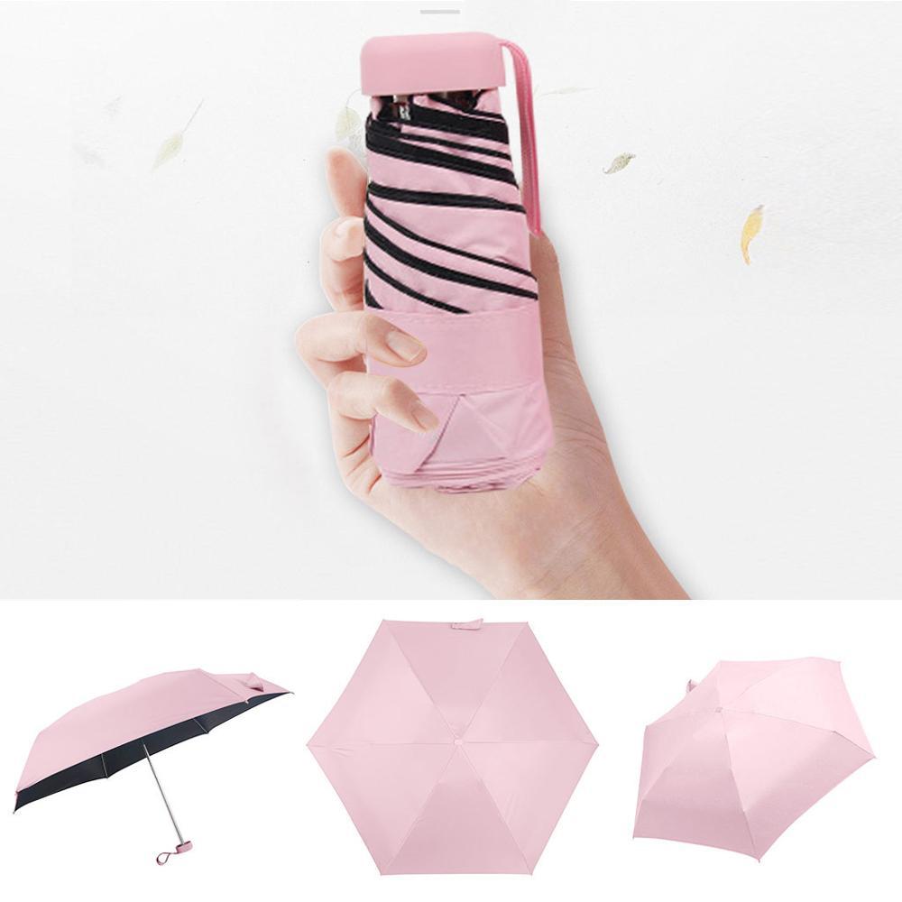 Мини-зонт, женский зонт, 5 раз, плоский светильник, Сумка с карманом и ультра-светильник, зонт, складной солнцезащитный зонтик, зонты Y1 - Цвет: PK