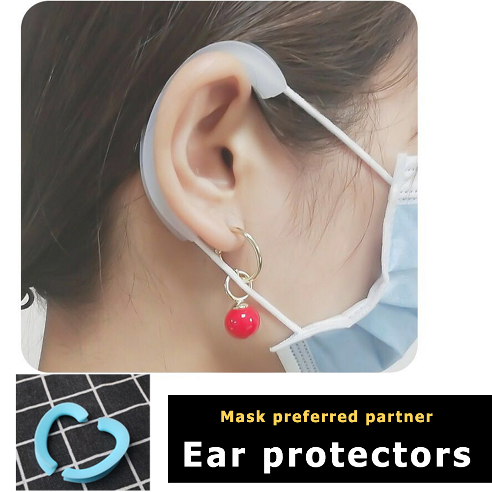 1Pair Silicone Face Mask Ear Hooks Cover Face Lightweight Soft Reusable Anti-Slip Ear Protection Grips Mask Accessories