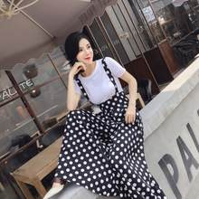 Vintage Plus Size England Style Flare Leg Jumpsuits and T-shirt Sets 2020 Summer Vintage Dots Wide Leg Jumpsuits Skirt sets LM22(China)