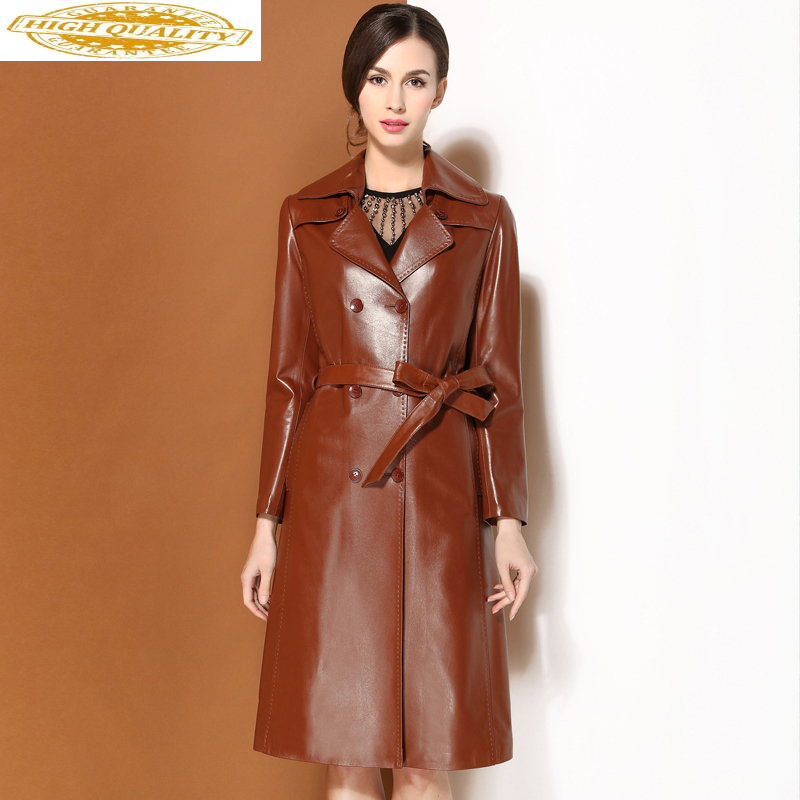 Genuine Leather Jacket Spring Autumn Jacket Women 100% Real Sheepskin Coat Female Long Trench Coats Chaqueta Mujer MY