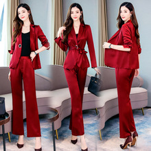 Professional business ladies pants suit 2019 new solid color long-sleeved jacket female Fashion autumn womens two-piece