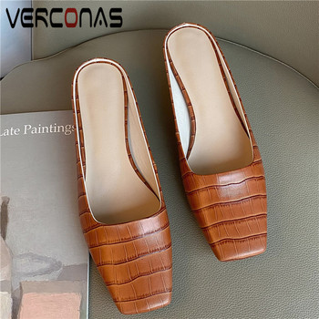 VERCONAS Women Thin Heels Genuine Leather Mules Slippers Thick Heels Basic Shoes Square Toe Sandals Summer Elegant Shoes Woman
