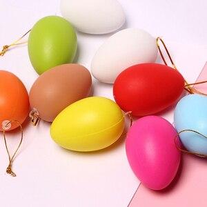 12 шт 6*4 см пластиковые пасхальные яйца висячие украшения для дома дети DIY ремесла живопись яйцо пасхальные вечерние принадлежности