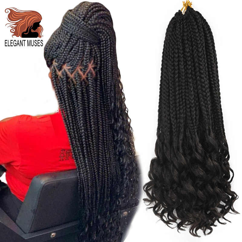 ELEGANT MUSES 24 Inch Goddess Box Braids Crochet Braid Hair Extensions Ombre 22 Strands Synthetic Hair for Braid Curly Ends