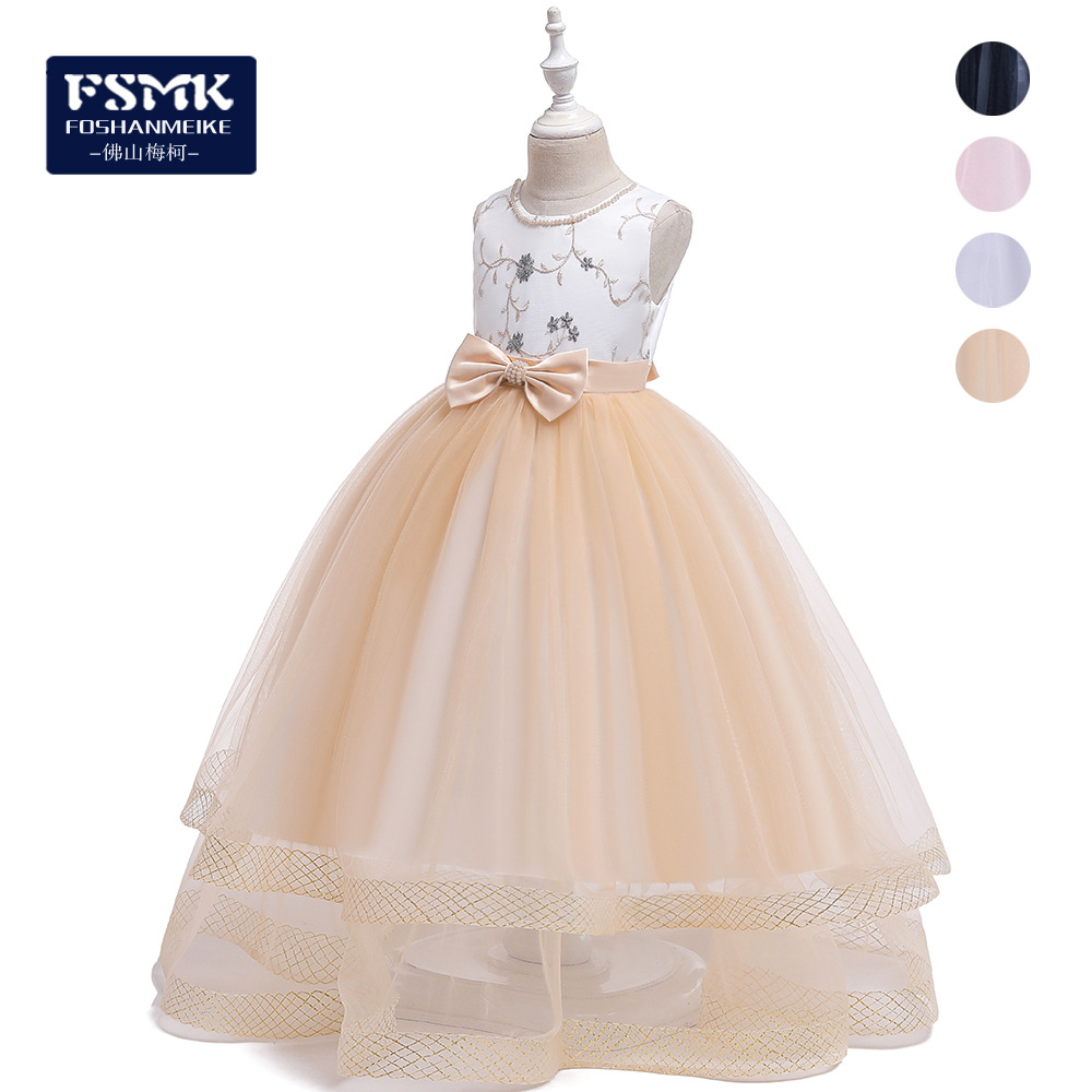 Embroidery CHILDREN'S Dress Mixed Colors Bow Mopping Long Skirts Formal Dress Dresses Of Bride Fellow Kids Wedding Dress Skirt