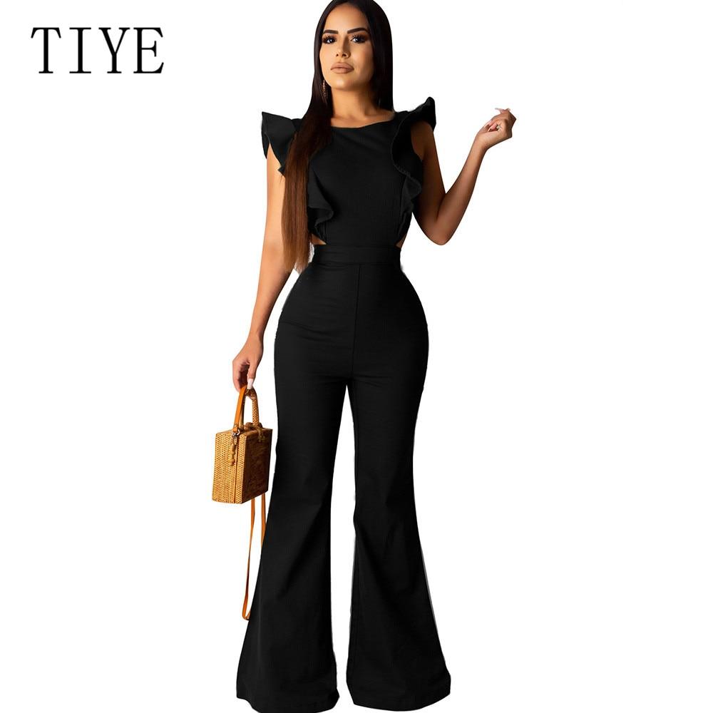 TIYE Women Fashion Elegant Office Workwear Casual Jumpsuits O-neck Sleeveless Sexy Playsuits Summer Female Black Rompers