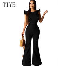 TIYE Women Fashion Elegant Office Workwear Casual Jumpsuits O-neck Sleeveless Sexy Playsuits Summer Female Black Rompers