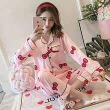 Autumn Winter Women Pajama Set Cartoon 2 Pcs Nightwear