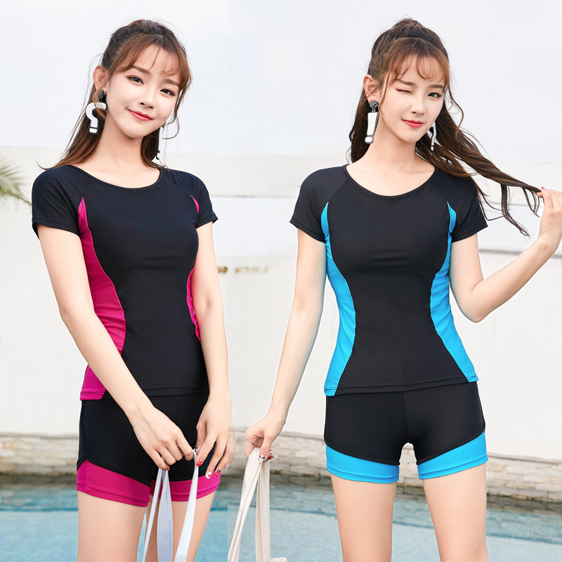 Students Two-piece Swimsuits Half Sleeve Boxer Conservative Sports Sun-resistant Women's Hipster Swimming Bubble Hot Spring Surf