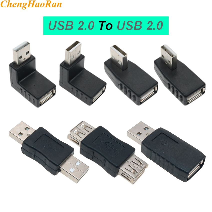 ChengHaoRan Angle 90 Degree 180 Degree USB 2.0 A Male Female Adapter Connector For Laptop PC Conversion Convertor Socket Power