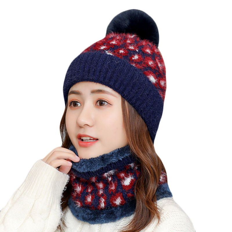 New Winter Hat Scarf Set For Women Plus Velvet Warm Beanies Hat For Girl Winter Hats Scarf Plush Knitted Caps Scarf 2 Pieces Set