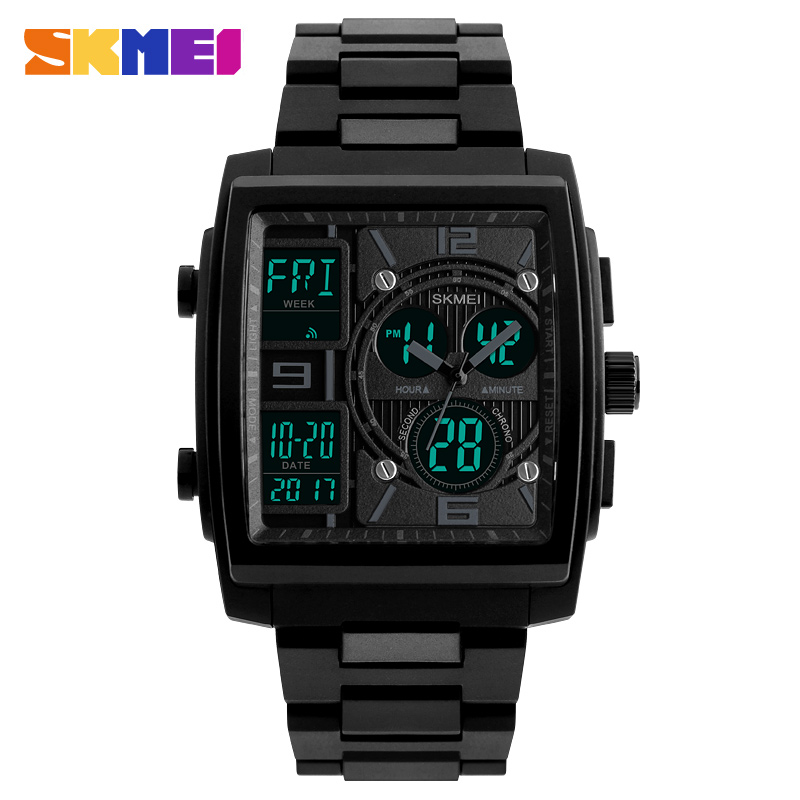 2020 New SKMEI Luxury Men Watches Man Analog Quartz Electronic Watch Black Steel Band Dual Display Waterproof Wristwatches