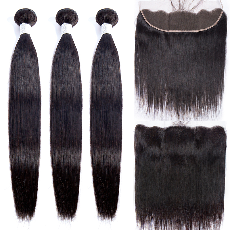 Modern Show 3 Bundles Peruvian Straight Hair Pre Plucked Lace Frontal Closure With Bundles Human Hair Weave Non Remy Extensions