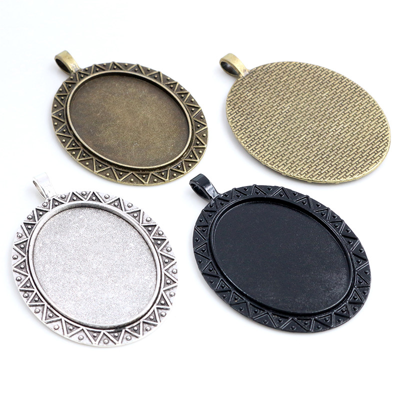 New Fashion 5pcs 30x40mm Inner Size Antique Silver Plated/Bronze/Black Simple Style Cabochon Base Setting Charms Pendant