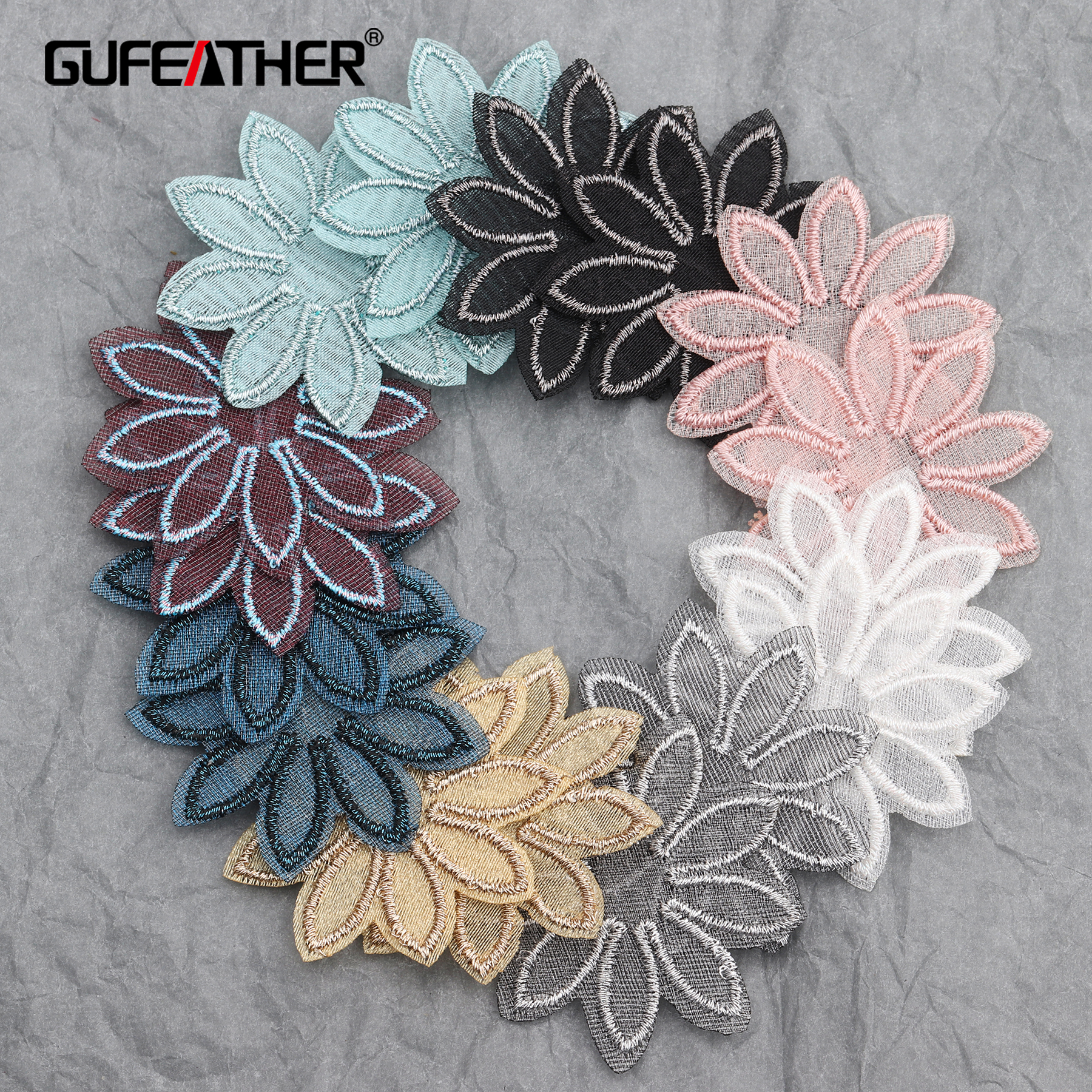 GUFEATHER L214,jewelry Accessories,flower Shape,diy Pendant,knitted Patch,jewelry Findings,hand Made,jewelry Making,20pcs/lot